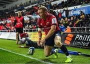 16 November 2019; Keith Earls of Munster after scoring his side's second try during the Heineken Champions Cup Pool 4 Round 1 match between Ospreys and Munster at Liberty Stadium in Swansea, Wales. Photo by Seb Daly/Sportsfile