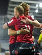 16 November 2019; Keith Earls of Munster, 11, is congratulated by team-mate Mike Haley after scoring his side's second try during the Heineken Champions Cup Pool 4 Round 1 match between Ospreys and Munster at Liberty Stadium in Swansea, Wales. Photo by Seb Daly/Sportsfile