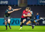 16 November 2019; Keith Earls of Munster is tackled by James Hook, right, and Luke Price of Ospreys during the Heineken Champions Cup Pool 4 Round 1 match between Ospreys and Munster at Liberty Stadium in Swansea, Wales. Photo by Seb Daly/Sportsfile