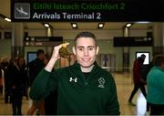 16 November 2019; T13 100m gold medalist Jason Smyth, from Derry, at Dublin Airport on Team Ireland's return from the World Para Athletics Championships 2019, held in Dubai. Photo by Stephen McCarthy/Sportsfile