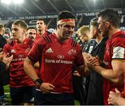 16 November 2019; Billy Holland, left, and Peter O'Mahony of Munster congratulate each other following their side' victory during the Heineken Champions Cup Pool 4 Round 1 match between Ospreys and Munster at Liberty Stadium in Swansea, Wales. Photo by Seb Daly/Sportsfile