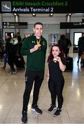 16 November 2019; T13 100m gold medalist Jason Smyth, from Derry, and F41 Discus bronze medalist Niamh McCarthy, from Carrigaline, Cork, at Dublin Airport on Team Ireland's return from the World Para Athletics Championships 2019, held in Dubai. Photo by Stephen McCarthy/Sportsfile