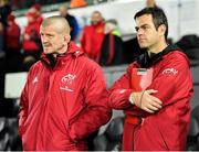 16 November 2019; Munster head coach Johann van Graan, right, and forwards coach Graham Rowntree during the Heineken Champions Cup Pool 4 Round 1 match between Ospreys and Munster at Liberty Stadium in Swansea, Wales. Photo by Seb Daly/Sportsfile