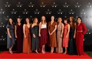16 November 2019; Dublin footballers, from left, Sinéad Aherne, Éabha Rutledge, Niamh Collins, Aoife Kane, Ciara Trant, Olwen Carey, Martha Byrne, Siobhán McGrath, Lauren Magee, and Lyndsey Davey, upon arrival at the TG4 All-Ireland Ladies Football All Stars Awards banquet, in association with Lidl at the Citywest Hotel in Saggart, Dublin. Photo by Brendan Moran/Sportsfile