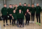 16 November 2019; Team Ireland athletes, including T13 100m gold medalist Jason Smyth, from Derry, and F41 Discus bronze medalist Niamh McCarthy, from Carrigaline, Cork, at Dublin Airport on their return from the World Para Athletics Championships 2019, held in Dubai. Photo by Stephen McCarthy/Sportsfile