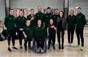 16 November 2019; Team Ireland athletes, including T13 100m gold medalist Jason Smyth, from Derry, and F41 Discus bronze medalist Niamh McCarthy, from Carrigaline, Cork, with Miriam Malone, Chief Executive Officer of Paralympics Ireland, at Dublin Airport on their return from the World Para Athletics Championships 2019, held in Dubai. Photo by Stephen McCarthy/Sportsfile
