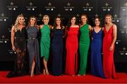 16 November 2019; Galway footballers, from left, Megan Glynn, Sinéad Burke, Tracey Leonard, Róisín Leonard, Lisa Murphy, Olivia Divilly, Nicola Ward, and Louise Ward, upon arrival at the TG4 All-Ireland Ladies Football All Stars Awards banquet, in association with Lidl at the Citywest Hotel in Saggart, Dublin. Photo by Brendan Moran/Sportsfile