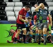 16 November 2019; Peter O'Mahony of Munster, centre, celebrates following his side's fourth try during the Heineken Champions Cup Pool 4 Round 1 match between Ospreys and Munster at Liberty Stadium in Swansea, Wales. Photo by Seb Daly/Sportsfile