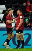 16 November 2019; Mike Haley, left, and CJ Stander congratulate each other following their side's fourth try during the Heineken Champions Cup Pool 4 Round 1 match between Ospreys and Munster at Liberty Stadium in Swansea, Wales. Photo by Seb Daly/Sportsfile