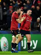 16 November 2019; James Cronin, right, is congratulated by team-mate Peter O'Mahony after scoring his side's fourth try during the Heineken Champions Cup Pool 4 Round 1 match between Ospreys and Munster at Liberty Stadium in Swansea, Wales. Photo by Seb Daly/Sportsfile