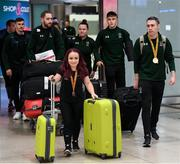 16 November 2019; Team Ireland athletes, including F41 Discus bronze medalist Niamh McCarthy, from Carrigaline, Cork, and T13 100m gold medalist Jason Smyth, from Derry, at Dublin Airport on their return from the World Para Athletics Championships 2019, held in Dubai. Photo by Stephen McCarthy/Sportsfile