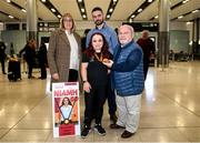 16 November 2019; F41 Discus bronze medalist Niamh McCarthy, from Carrigaline, Cork, with her parents Caroline and Flor and partner Richard Donaldson at Dublin Airport on Team Ireland's return from the World Para Athletics Championships 2019, held in Dubai. Photo by Stephen McCarthy/Sportsfile