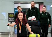 16 November 2019; F41 Discus bronze medalist Niamh McCarthy, from Carrigaline, Cork, at Dublin Airport on Team Ireland's return from the World Para Athletics Championships 2019, held in Dubai. Photo by Stephen McCarthy/Sportsfile