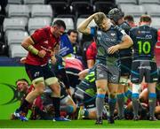 16 November 2019; Kieran Williams of Ospreys after his side concede a fourth try during the Heineken Champions Cup Pool 4 Round 1 match between Ospreys and Munster at Liberty Stadium in Swansea, Wales. Photo by Seb Daly/Sportsfile