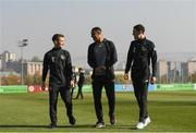 14 November 2019; Republic of Ireland players, from left, Connor Ronan, Adam Idah and Corey O'Keefe walk the pitch prior to the UEFA European U21 Championship Qualifier Group 1 match between Armenia and Republic of Ireland at the FFA Academy Stadium in Yerevan, Armenia. Photo by Harry Murphy/Sportsfile