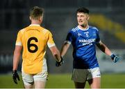 16 November 2019; Dessie Mone of Clontibret and Ethan O'Donnell of Naomh Conaill shake hands after the final whistle in the AIB Ulster GAA Football Senior Club Championship Semi-Final match between Clontibret and Naomh Conaill at Healy Park in Omagh. Photo by Oliver McVeigh/Sportsfile