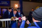 16 November 2019; Leinster players, from left, Max Deegan, James Tracy and Caelan Doris during a supporter meet and greet following the Heineken Champions Cup Pool 1 Round 1 match between Leinster and Benetton at the RDS Arena in Dublin. Photo by Sam Barnes/Sportsfile