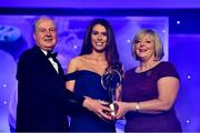 16 November 2019; Galway footballer Ellen Power is presented with the Connacht Young Player of the Year award by Ard Stiúrthóir TG4, Alan Esslemont and President of LGFA Marie Hickey during the TG4 Ladies Football All-Star Awards banquet, in association with Lidl, at the CityWest Hotel in Saggart, Co Dublin. Photo by Brendan Moran/Sportsfile