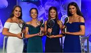 16 November 2019; Young players of the year, from left, Cavan footballer Saoirse Kiernan with her Ulster Young Player of the Year award, Cork footballer Eimear O'Donovan with her Munster Young Player of the Year award, Meath footballer Ciara Smyth with her Leinster Young Player of the Year award, and Galway footballer Ellen Power with her Connacht Young Player of the Year award, during the TG4 Ladies Football All-Star Awards banquet, in association with Lidl, at the CityWest Hotel in Saggart, Co Dublin. Photo by Brendan Moran/Sportsfile