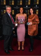 16 November 2019; Rianna Jarrett of Wexford Youths presented with with her Player of the season, Top goal scorer and team of the year awards by Marie McDonagh of SÓ Hotel and Women's National League Committee Chairman Myles Kelly award during the Só Hotels WNL Awards at Castle Oaks Hotel in Limerick. Photo by Eóin Noonan/Sportsfile