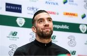 17 November 2019; Shane Duffy during a Republic of Ireland press conference at the FAI National Training Centre in Abbotstown, Dublin. Photo by Stephen McCarthy/Sportsfile