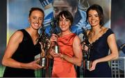 16 November 2019; Aisling Moloney of Tipperary, left, with her TG4 Intermediate Players' Player of the Yeard award, Siobhan McGrath of Dublin with her TG4 Senior Player's Player of the Year award and Eimear Smyth of Fermanagh, right, with her TG4 Junior Players' Player of the Year award during the TG4 All-Ireland Ladies Football All Stars Awards banquet, in association with Lidl, at the Citywest Hotel in Saggart, Dublin. Photo by Brendan Moran/Sportsfile