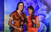 16 November 2019; Dublin footballers and Thomas Davis club members Olwen Carey, left, with her TG4 All Star award and Siobhan McGrath with her TG4 All Star award and TG4 Senior Player's Player of the Year award during the TG4 All-Ireland Ladies Football All Stars Awards banquet, in association with Lidl, at the Citywest Hotel in Saggart, Dublin. Photo by Brendan Moran/Sportsfile
