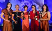 16 November 2019; Dublin footballers, from left, Olwen Carey, Carla Rowe, Siobhan McGrath, Lyndsey Davey and Niamh Collins with their TG4 All Star awards during the TG4 All-Ireland Ladies Football All Stars Awards banquet, in association with Lidl, at the Citywest Hotel in Saggart, Dublin. Photo by Brendan Moran/Sportsfile