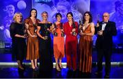 16 November 2019; Dublin footballers, from left, Joan McEvoy, who received the award on behalf of her daughter Niamh McEvoy, Olwen Carey, Carla Rowe, Siobhan McGrath, Lyndsey Davey, Niamh Collins and Seamus McGoldrick, who received the award on behalf of his daughter Sinead Goldrick, with their TG4 All Star awards during the TG4 All-Ireland Ladies Football All Stars Awards banquet, in association with Lidl, at the Citywest Hotel in Saggart, Dublin. Photo by Brendan Moran/Sportsfile