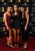 16 November 2019; Kate Mooney, Jess Gargan and Alex Kavanagh arriving to the Só Hotels WNL Awards at Castle Oaks Hotel in Limerick. Photo by Eóin Noonan/Sportsfile