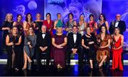 16 November 2019; The TG4 All Star team, back row, from left, Joan McEvoy, who received the award on behalf of her daughter Niamh McEvoy of Dublin, Melissa Duggan of Cork, Niamh Collins of Dublin, Carla Rowe of Dublin, Lyndsey Davey of Dublin, Tracey Leonard of Galway, Rachel Kearns of Mayo, Orla Finn of Cork, Siobhan McGrath of Dublin, Nicola Ward of Galway and Seamus McGoldrick, who received the award on behalf of his daughter Sinead Goldrick of Dublin, with front, from left, Monica McGuirk of Meath, Sinead Burke of Galway, Ard Stiúrthóir TG4 Alan Esslemont, LGFA President Marie Hickey, MD Lidl Ireland JP Scally, LGFA CEO Helen O'Rourke, Olwen Carey of Dublin and Louise Ward of Galway, during the TG4 All-Ireland Ladies Football All Stars Awards banquet, in association with Lidl, at the Citywest Hotel in Saggart, Dublin. Photo by Brendan Moran/Sportsfile