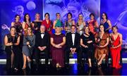 16 November 2019; The TG4 All Star team, back row, from left, Melissa Duggan of Cork, Niamh Collins of Dublin, Carla Rowe of Dublin, Lyndsey Davey of Dublin, Tracey Leonard of Galway, Rachel Kearns of Mayo, Orla Finn of Cork, Siobhan McGrath of Dublin and Nicola Ward of Galway, with front, from left, Monica McGuirk of Meath, Sinead Burke of Galway, Ard Stiúrthóir TG4 Alan Esslemont, LGFA President Marie Hickey, MD Lidl Ireland JP Scally, LGFA CEO Helen O'Rourke, Olwen Carey of Dublin and Louise Ward of Galway, during the TG4 All-Ireland Ladies Football All Stars Awards banquet, in association with Lidl, at the Citywest Hotel in Saggart, Dublin. Photo by Brendan Moran/Sportsfile