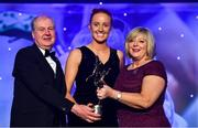16 November 2019; Aisling Moloney of Tipperary is presented with the TG4 Intermediate Player's Player of the Year award by Ard Stiúrthóir TG4, Alan Esslemont and President of LGFA Marie Hickey during the TG4 All-Ireland Ladies Football All Stars Awards banquet, in association with Lidl, at the Citywest Hotel in Saggart, Dublin. Photo by Brendan Moran/Sportsfile