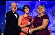 16 November 2019; Siobhan McGrath of Dublin is presented with her TG4 All Star award by Ard Stiúrthóir TG4, Alan Esslemont and President of LGFA Marie Hickey during the TG4 All-Ireland Ladies Football All Stars Awards banquet, in association with Lidl, at the Citywest Hotel in Saggart, Dublin. Photo by Brendan Moran/Sportsfile