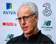 17 November 2019; Republic of Ireland manager Mick McCarthy during a Republic of Ireland press conference at the FAI National Training Centre in Abbotstown, Dublin. Photo by Stephen McCarthy/Sportsfile