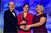 16 November 2019; Lyndsey Davey of Dublin is presented with her TG4 All Star award by Ard Stiúrthóir TG4, Alan Esslemont and President of LGFA Marie Hickey during the TG4 All-Ireland Ladies Football All Stars Awards banquet, in association with Lidl, at the Citywest Hotel in Saggart, Dublin. Photo by Brendan Moran/Sportsfile