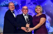 16 November 2019; Seamus Goldrick, on behalf of his daughter Sinead Goldrick of Dublin, is presented with the TG4 All Star award by Ard Stiúrthóir TG4, Alan Esslemont and President of LGFA Marie Hickey during the TG4 All-Ireland Ladies Football All Stars Awards banquet, in association with Lidl, at the Citywest Hotel in Saggart, Dublin. Photo by Brendan Moran/Sportsfile