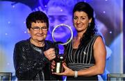 16 November 2019; Christina Heffernan of Mayo with her mother Ann and her Hall of Fame award during the TG4 All-Ireland Ladies Football All Stars Awards banquet, in association with Lidl, at the Citywest Hotel in Saggart, Dublin. Photo by Brendan Moran/Sportsfile