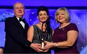 16 November 2019; Christina Heffernan of Mayo is presented with her Hall of Fame award by Ard Stiúrthóir TG4, Alan Esslemont and President of LGFA Marie Hickey during the TG4 All-Ireland Ladies Football All Stars Awards banquet, in association with Lidl, at the Citywest Hotel in Saggart, Dublin. Photo by Brendan Moran/Sportsfile