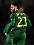 14 November 2019; Derrick Williams of Republic of Ireland celebrates after scoring his side's first goal during the International Friendly match between Republic of Ireland and New Zealand at the Aviva Stadium in Dublin. Photo by Stephen McCarthy/Sportsfile