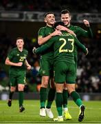 14 November 2019; Derrick Williams celebrates with Republic of Ireland team-mates Troy Parrott, left, and Kevin Long, right, after scoring his side's opening goal during the International Friendly match between Republic of Ireland and New Zealand at the Aviva Stadium in Dublin. Photo by Stephen McCarthy/Sportsfile