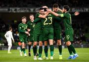 14 November 2019; Derrick Williams, 23, celebrates with Republic of Ireland team-mates Troy Parrott, left, and Kevin Long and Robbie Brady, right, after scoring his side's opening goal during the International Friendly match between Republic of Ireland and New Zealand at the Aviva Stadium in Dublin. Photo by Stephen McCarthy/Sportsfile
