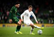 14 November 2019; Callum McCowatt of New Zealand and Derrick Williams of Republic of Ireland during the International Friendly match between Republic of Ireland and New Zealand at the Aviva Stadium in Dublin. Photo by Stephen McCarthy/Sportsfile