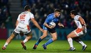 16 November 2019; Jordan Larmour of Leinster in action against Alberto Sgarbi, left, and Ian Keatley of Benetton during the Heineken Champions Cup Pool 1 Round 1 match between Leinster and Benetton at the RDS Arena in Dublin. Photo by Sam Barnes/Sportsfile