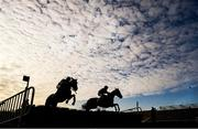 17 November 2019; Runners and riders jump the last during the Nally Bros Hyundai Supporting Longford GAA 3-Y-O Hurdle at Punchestown Racecourse in Naas, Kildare. Photo by David Fitzgerald/Sportsfile