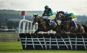 17 November 2019; Sacchoandvanzetti, with Jody McGarvey up, left, jump the last on their way to winning the Nally Bros Hyundai Supporting Longford GAA 3-Y-O Hurdle at Punchestown Racecourse in Naas, Kildare. Photo by David Fitzgerald/Sportsfile
