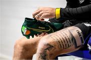 17 November 2019; A detailed view of the boots belong to James McClean, featuring the names of his children, during a Republic of Ireland gym session at the Sport Ireland Institute in Abbotstown, Dublin. Photo by Stephen McCarthy/Sportsfile