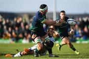 17 November 2019; Paul Boyle of Connacht is tackled by Benoit Paillaugue of Montpellier during the Heineken Champions Cup Pool 5 Round 1 match between Connacht and Montpellier at The Sportsground in Galway. Photo by Ramsey Cardy/Sportsfile