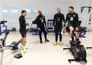17 November 2019; Players, from left, Seamus Coleman, David McGoldrick, Shane Duffy and Richard Keogh during a Republic of Ireland gym session at the Sport Ireland Institute in Abbotstown, Dublin. Photo by Stephen McCarthy/Sportsfile