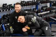 17 November 2019; Jack Byrne, left, and Troy Parrott following a Republic of Ireland gym session at the Sport Ireland Institute in Abbotstown, Dublin. Photo by Stephen McCarthy/Sportsfile